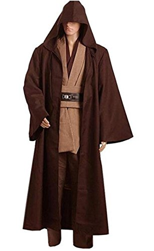 HBMaida Men's Cosplay Costume Linen Cotton Halloween Tunic Brown -