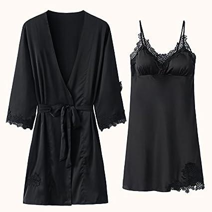 OME&QIUMEI Pijama Mujer Vestidos De Verano Dos Palos Con Un Acolchado Acolchado Lace 170 (Xl