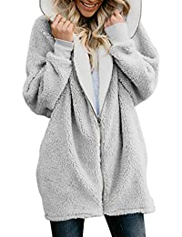 Women Zip up Hooded Fluffy Coat Cardigans Outwear Jackets with Pocket