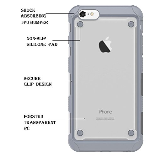 Skid-proof Drop-proof TPU Bumper + PC Back Shell Tasche Hüllen Schutzhülle - Case für iPhone 6s 6 - Grey