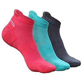 Heelium Bamboo Women's Ankle Socks for Running Sports & Gym, White Grey Pink Teal, Anti Odour Breathable Durable Anti…