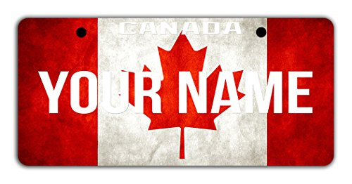 BleuReign(TM Personalized Custom Name License Canada Flag Plate Bicycle Bike Moped Golf Cart 3