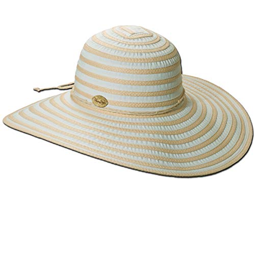 Panama Jack Women's Ribbon Toyo and Paper Braid Floppy Sun Hat with Sizing Tie, 5