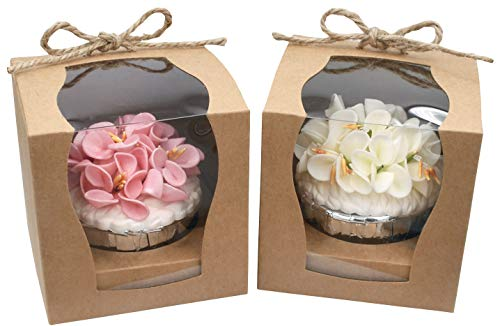 (ZEALAX Kraft Cupcake Favor Boxes Individual Clear Window Cupcake Bakery Paper Box Holder with Inserts and Burlap Twine, 12 Count, 3.5 x 3.5 x 3.5)