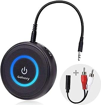 Golvery 2 en 1 Receptor transmisor Bluetooth 5.0, Adaptador de Audio Auxiliar de 3.5 mm, Hi-Fi Music Stream Dongle para TV, PC, Auriculares, estéreo para automóvil, aptX de Baja latencia admitidos: Amazon.es: Electrónica