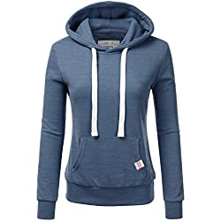NINEXIS Womens Long Sleeve Fleece Pullover Hoodie Sweatshirts Denim M
