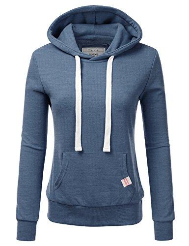 NINEXIS Womens Long Sleeve Fleece Pullover Hoodie Sweatshirts Denim M