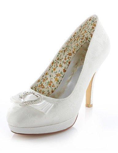 ShangYi Schuh Damen - Hochzeitsschuhe - Absätze / - Rundeschuh - High Heels - / Hochzeit / Kleid / Party & Festivität - Blau / Lila / Elfenbein / Silber , 4in-4 3/4in-ivory  - 1cebef