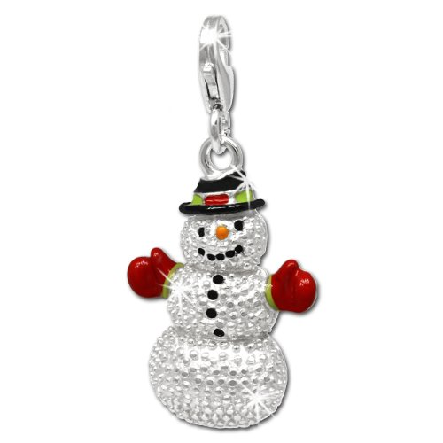 SilberDream Charm snowman red black and green enameled 925 Sterling Silver Pendant FC697 - Snowman Charm Black