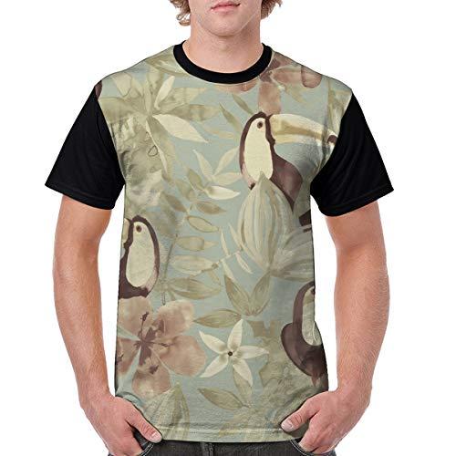 Men's Raglan Short Sleeve T-Shirts Bird Flower Casual