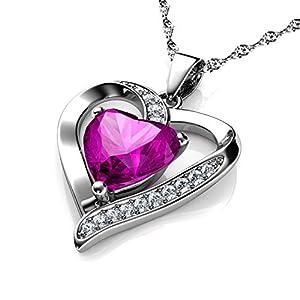 Cœur Rose Collier Dephini – Argent 925 Pendentif en forme de cœur avec zircons blancs et rose Pierre porte-bonheur ornés…