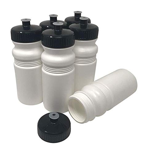 (CSBD Blank 20 oz Sports and Fitness Squeeze Water Bottles, BPA Free, HDPE Plastic, Made in USA, Bulk, 6 Pack (20 Ounces, White Bottle - 63mm Black Lid))