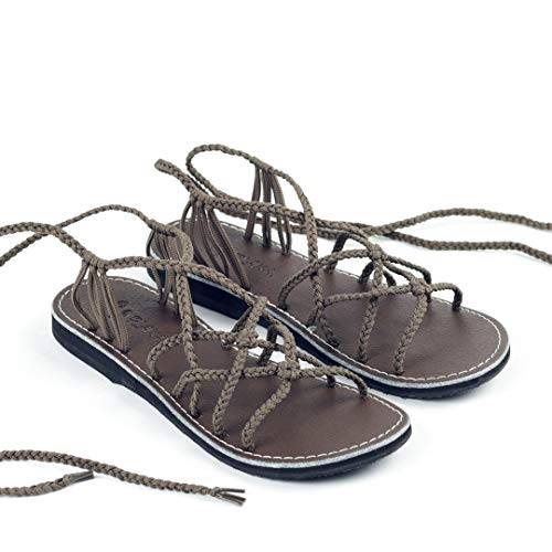Plaka Sahara Flat Gladiator Sandals for Women | Perfect for The Beach & Dressy Occasions | Taupe | Size 7