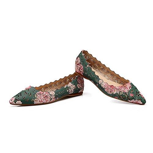 Balamasa Stampa Ornamento Pizzo Femminile Scava Fuori Modello Leopard In Microfibra Pumps-shoes Green