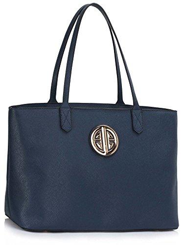 Womens Handbags In Sale Ladies Designer Faux Leather Shoulder Extra Large Bag New Designer Look Design 1 - Navy