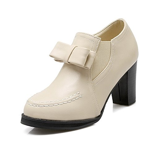 Chiuso Zipper Talloni shoes Allhqfashion Beige Pompe Alte Tutto Punta Solidi Donne gpYnq