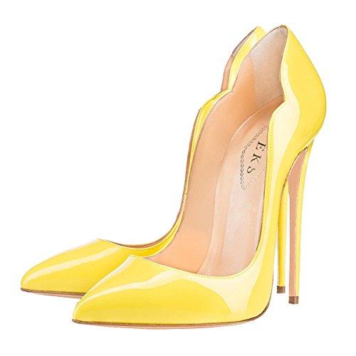 Eks Zapatos Amarillo De Tacón Mujer ppdrSw