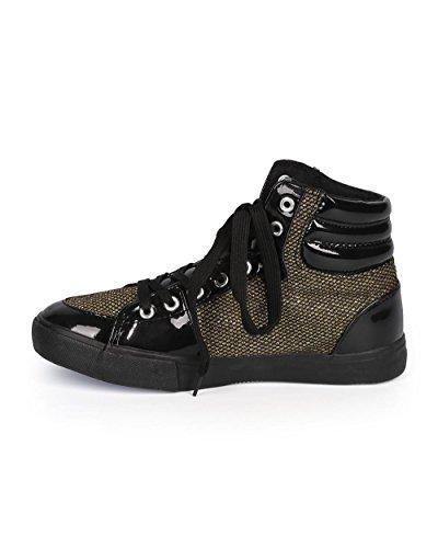 Misbehave Di61 Damesmix Media Ronde Neus Mesh Glitter Hoge Sneaker - Zwart