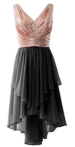MACloth Women Straps V Neck Sequin Chiffon High Low Prom Dress ...