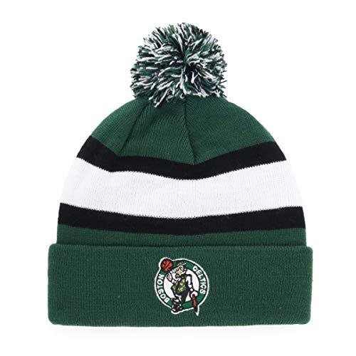 OTS NBA Boston Celtics Male Rush Down Cuff Knit Cap with Pom, Dark Green, One Size