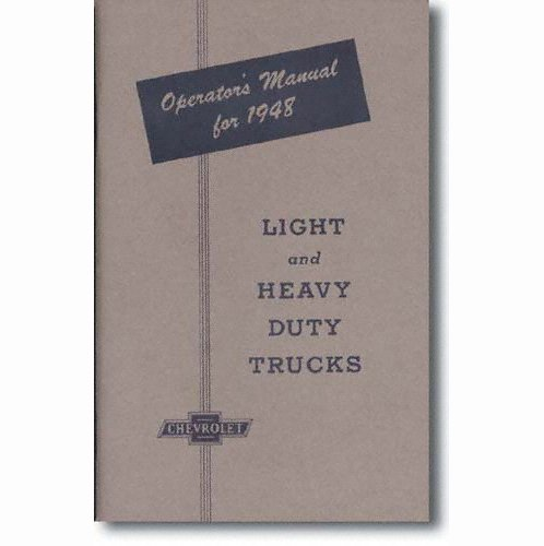 1948 Chevrolet Truck Owners Manual Chevy 48 (with (Chevrolet Canopy)