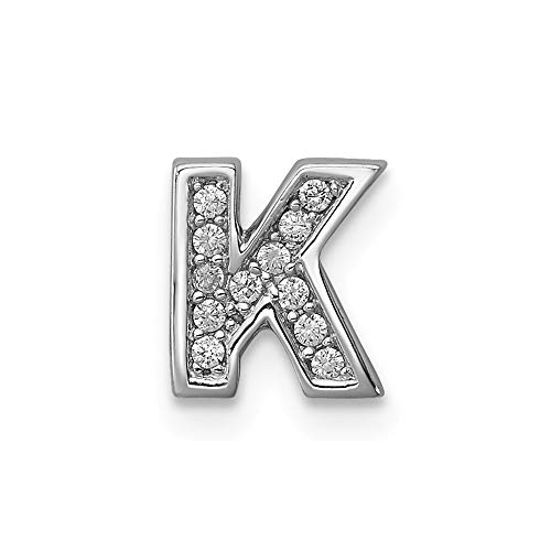925 Sterling Silver Cubic Zirconia Cz Letter K Slide Pendant Charm Necklace Chain Initial Fine Jewelry Gifts For Women For Her ()