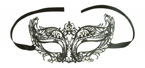 Royal Phoenix Empress Venetian Masquerade Laser Cut Black Mask w/ Rhinestones (Royal Empress Adult Costume)