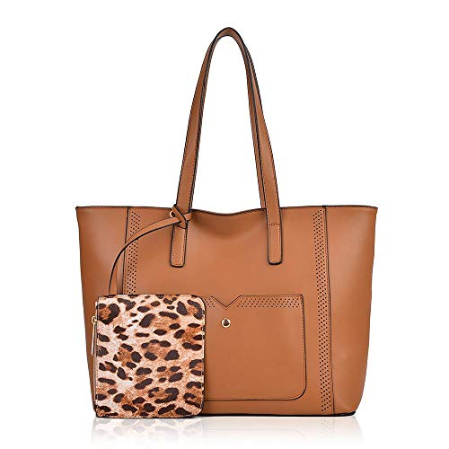 PU Womens Elegant Bag Handbag Design Tote Fashion for Top Leopard Handle Tan Ladies Shoulder Z4wdnqI4