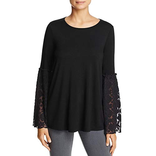 Three Dots Women's Refined Jersey Embroidered Loose Mid Shirt, Black, Xtra Small