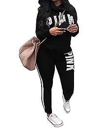 Tracksuit Sets For Women Cowl Neck 2 Piece Long Sleeve Letter Print Jogger Plus Size Sweatpants