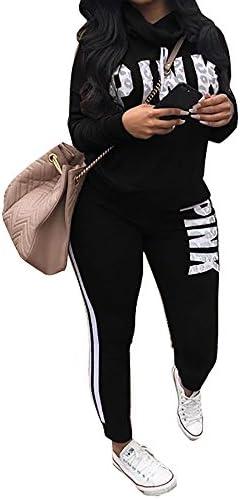 chellysun Mujer Cowl sudadera de cuello y de larga pantalones de chándal estampado de letras conjuntos de 2piezas