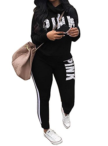 Chellysun Women Jumpsuit Cowl Neck Sweatshirt and Long Pants Tracksuit Letter Print 2 Piece Outfits Black X-Large (Cowl Neck Jumpsuit)