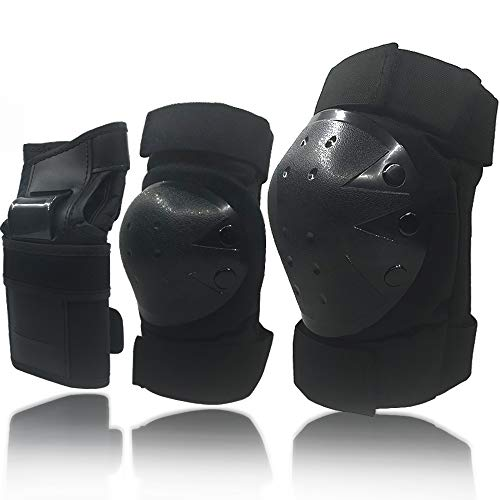 (Wemfg Adults/Kids Protective Gear Set Knee Pads Elbow Pads Wrist Guards for Skating Cycling Bike Rollerblading Scooter 3 in 1 )