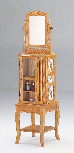 Coaster Home Furnishings Queen Anne Style Oak Finish Wood Revolving Jewelry Armoire