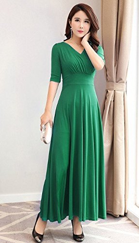 MiGMV?2018 Robes Robe Femme, Robe, Manches Courtes, Taille Haute, Jupe, Grand V Longue Jupe. Green five split sleeves