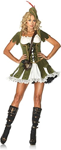 Sexy Adult Princess Of Thieves Costumes - Leg Avenue Women's 3 Piece Thief Of Hearts Peasant Dress And Hat With Feather And Satchel, Green/Multi, Medium/Large