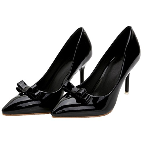 Stiletto Women Leather Patent Pumps Black Pumps HooH Pointed toe Shoes Bowknot aqSwa0rt