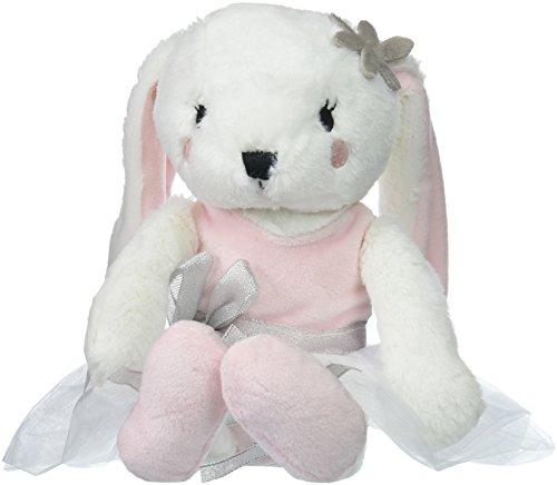 NoJo Ballerina Bows Plush Bunny, White/Pink/Silver