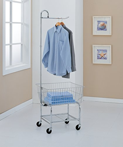 Organize It All Rolling Chrome Commercial Laundry Butler with Storage Rack by Organize It All (Image #2)