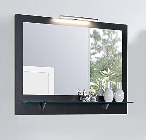 Bad Spiegel / Wandspiegel 90 Cm, Anthrazit Mit Ablage, Incl