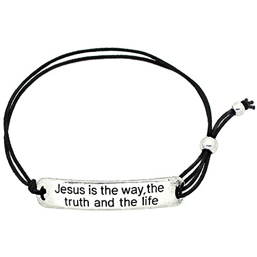 KIS-Jewelry 'Jesus is The Way The Truth and The Life' Inspirational Stretch Bracelet - One Size Fits All Motivational Bracelet with Engraved Plaque & Black Elastic (Christianity Truth And Weakening Faith A Dialogue)
