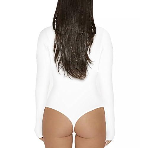 Sumtory Women High Neck Top Bodysuit Long Sleeve Bodycon Romper Solid Thong  Leotard 4efe4b35d