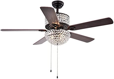 Warehouse of Tiffany CFL-8170BL Laure Crystal 6-Light 52-inch Ceiling Fan