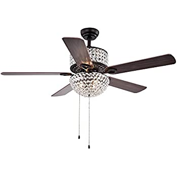 Warehouse Of Tiffany CFL 8170BL Laure Crystal 6 Light 52 Ceiling Fan