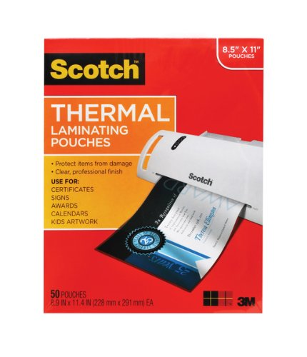 "Scotch Thermal Laminating Pouches  - 8-1/2 X 11"": 50-Count"