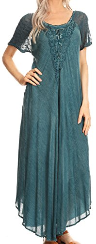 (Sakkas 16611 - Helena Embroidered Nightgown/Women Sleepwear with Eyelet Sleeves - Denim Blue - OS )