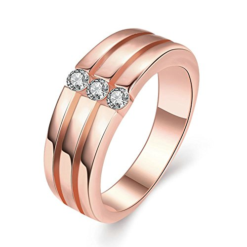 Engagement Rings Kuwait: Gnzoe Fashion Jewelry 3 Circle Crystal Rose Gold Men's
