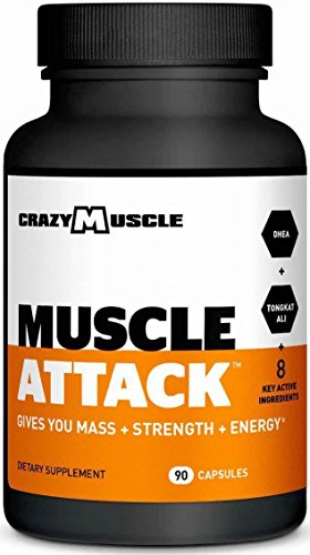 Muscle Attack by Crazy Muscle: Powerful DHEA Supplement to Boost Testosterone and Maintain it - 90 Tablets by Crazy Muscle