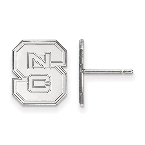 10k White Gold LogoArt Official Licensed Collegiate North Carolina State University (NCSU) Small Post Earrings by LogoArt