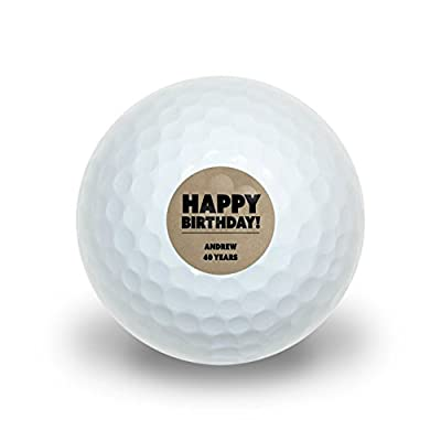 Graphics and More Personalized Custom Happy Birthday Textured Kraft Design Novelty Golf Balls 3 Pack by Graphics and More